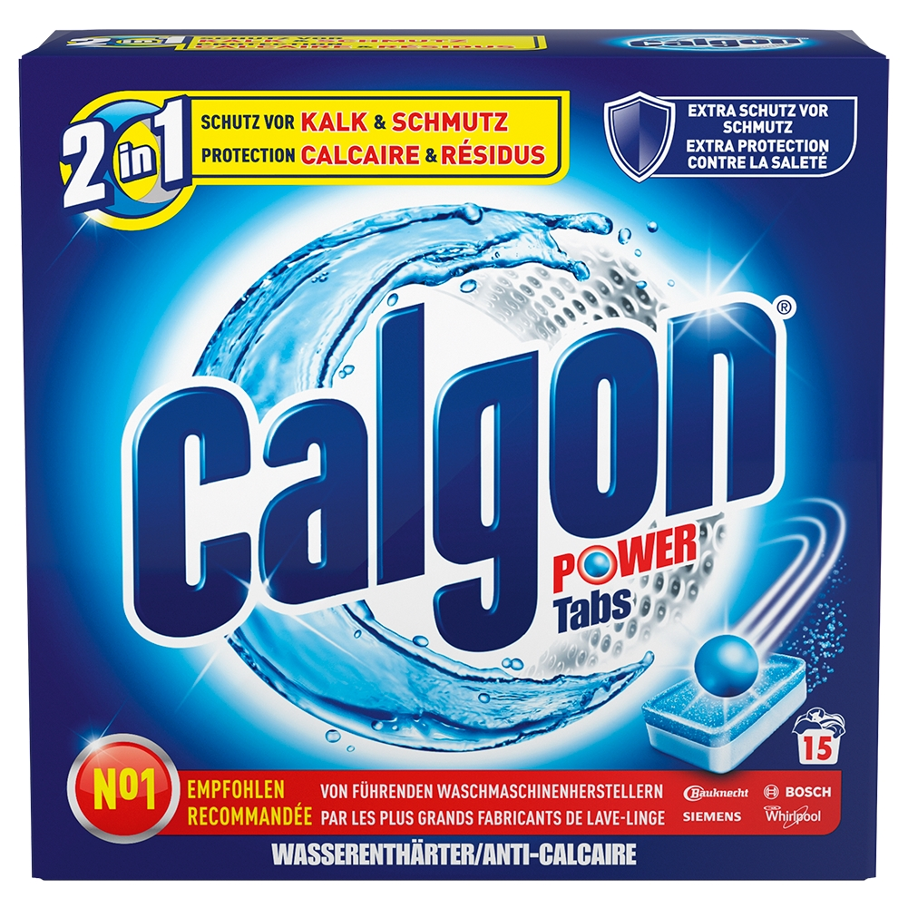 calgon 2in1 tabs wasserenth rter waschmaschine gegen kalk und schmutz 15 tabs ebay. Black Bedroom Furniture Sets. Home Design Ideas