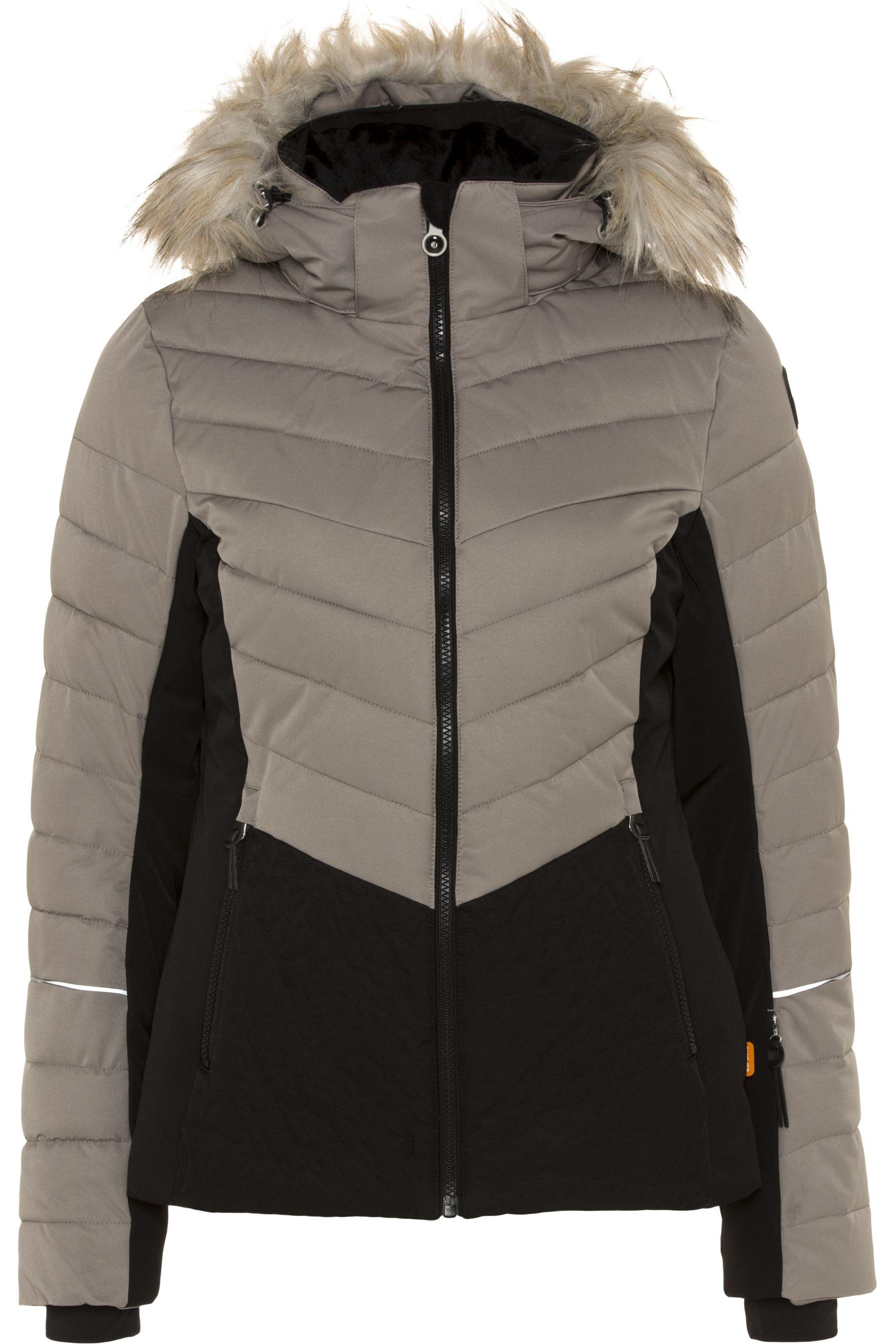 Details zu Icepeak Damen Charlie IX Jacke Skijacke Taillerte Passform Kapuze Khaki 36
