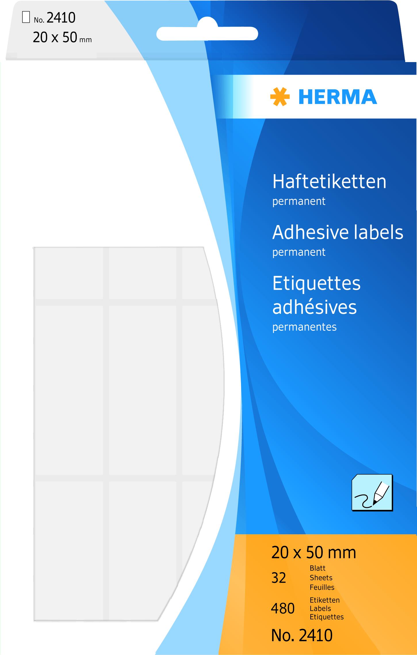 HERMA 2410-480 Vielzwecketiketten 20 x 50 mm zur Handbeschriftung weiß