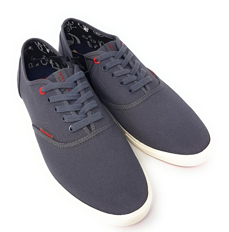 76a1050bde9609 JACK   JONES Canvas Sneaker Herren Schuhe Turnschuhe Low Top Grau Pewter 40  EU