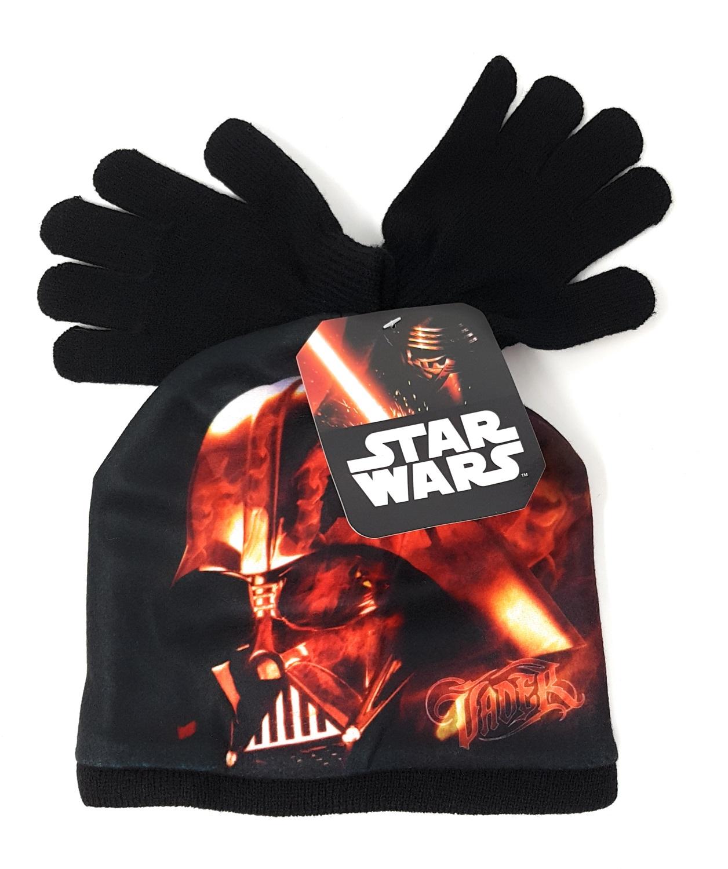 Disney Star Wars Bambini Winterset Berretto Guanti Darth Vader Nero 52- Ottima Qualità