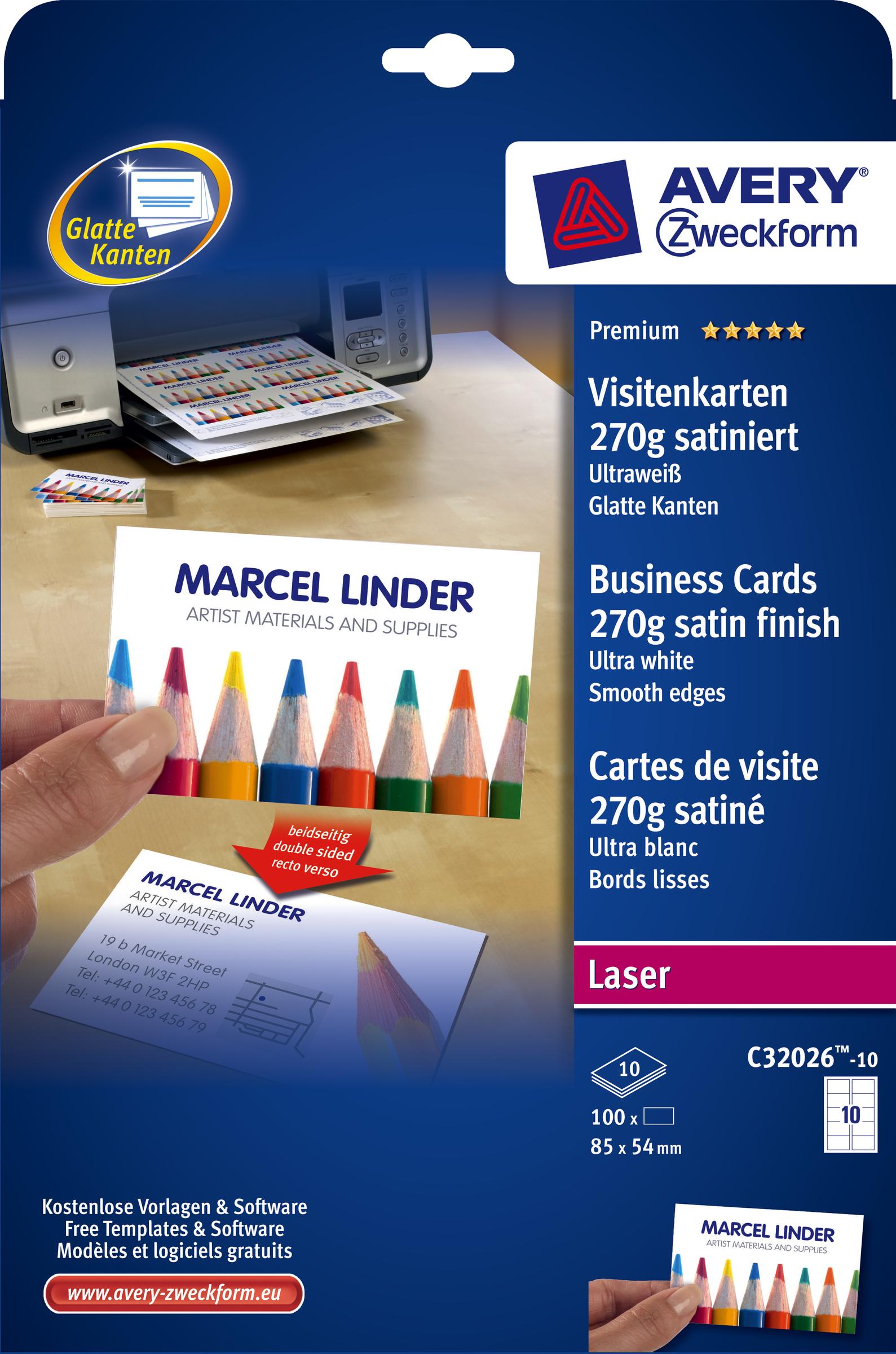 Details Zu Avery Zweckform Visitenkarte Laser 270 G M 85 X 54 Mm Ultraweiß Satin